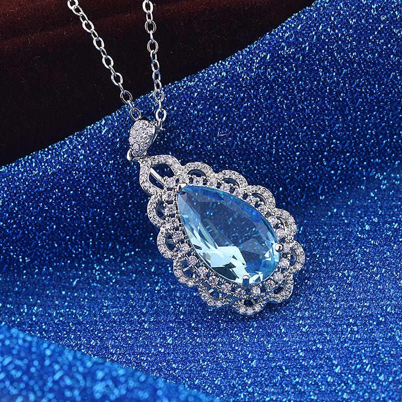 PANSYSEN 新ファッション Seablue アクアマリントパーズシルバー 925 ジュエリーペンダントネックレス女性のための 13 × 20 ミリメートル宝石用原石のシルバーネックレス