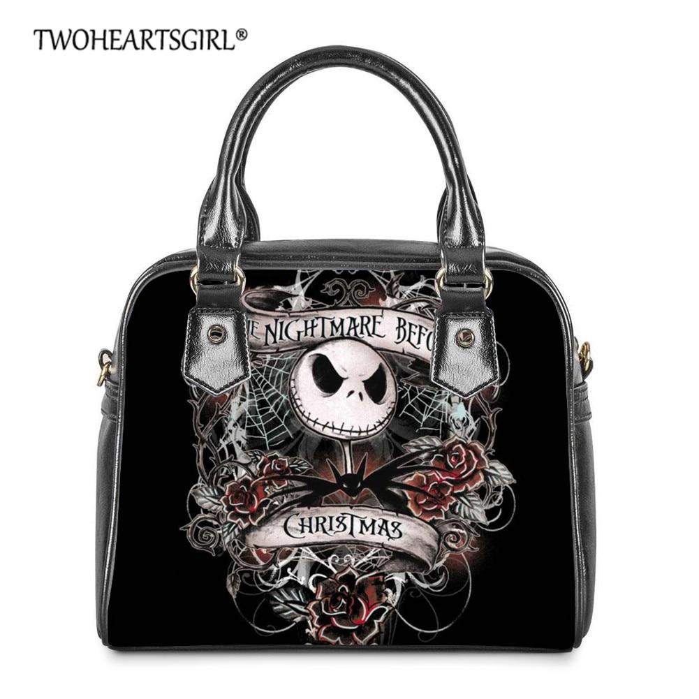 Twoheartsgirl The Nightmare Before Christmas Crossbody Bag Ladies Leather Shoulder BagsAnime Skull Jack Print Messenger Totes
