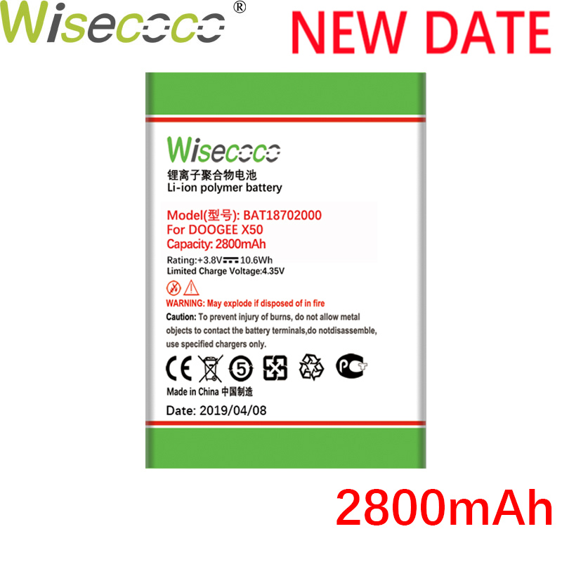 Wisecoco <font><b>BAT18702000</b></font> 2800mAh New Powerful Battery For DOOGEE X50 X 50 Pro Phone Battery Replacement + Tracking Number image