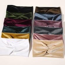 Turban en velours pour femmes, couleur unie, ruban d'hiver en peluche, bandeau croisé doux à nœud torsadé, accessoires pour cheveux