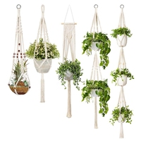 HOT 5 Pack Macrame Plant Hangers, Different Tiers, Handmade Cotton Rope Hanging Planters Set Flower Pots Holder Stand, For Indoo
