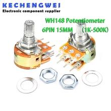 5pcs WH148 B1K B2K B5K B10K B20K B50K B100K B500K 6Pin Shaft Amplifier Dual Stereo Potentiometer 1K 2K 5K 10K 50K 100K 500K