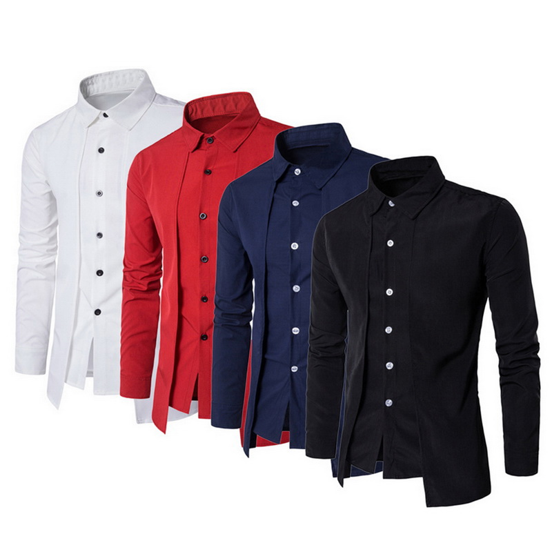 Dress Shirt Slim-Fit Long-Sleeve Autumn Male Plus-Size Casual Stylish Men M-3XL New-Arrival title=