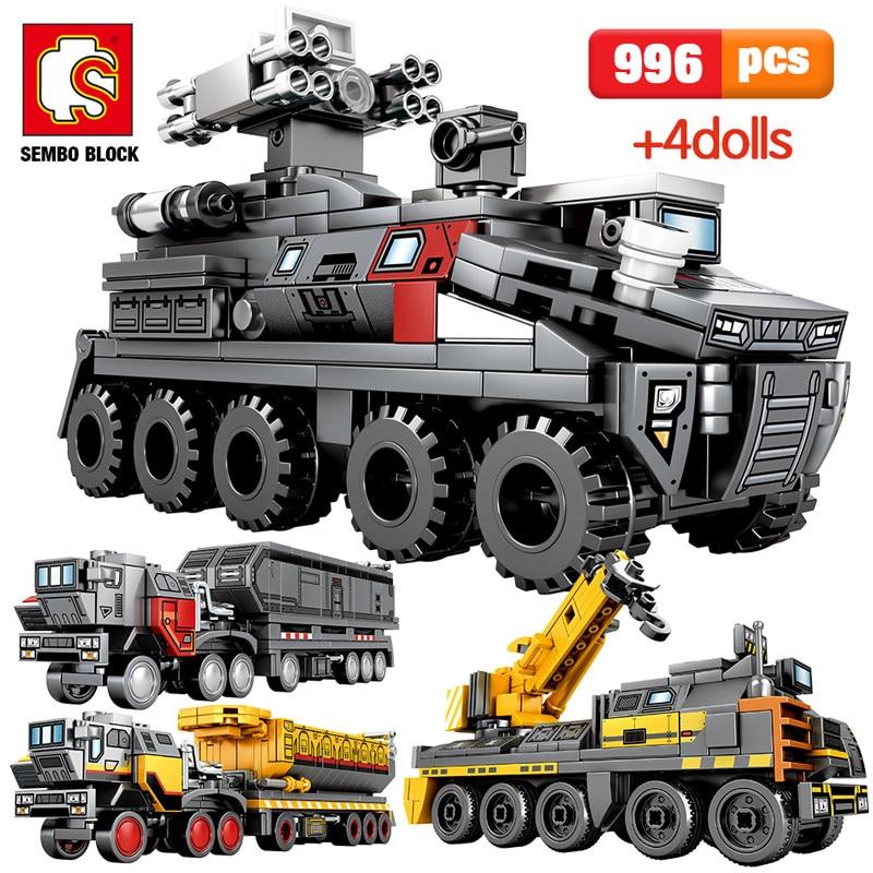 SEMBO 996pcs City Wandering Earth Car Building Blocks Technic Military Vehicle Cargo Transport Truck Bricks Boys Toys