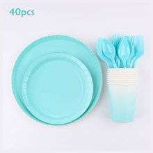 Tableware Party-Supplies Gradient Cups Birthday-Party-Decorations Blue-Theme for Children