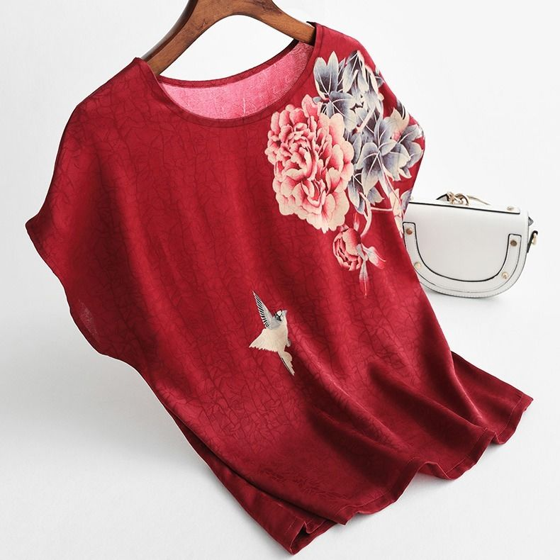 Hac7835ef9ab94503a721cb8ea9edc0ceJ - Women Silk Satin Blouses Plus size Batwing sleeve Vintage Print Floral Blouse Ladies Casual Short sleeve Tops