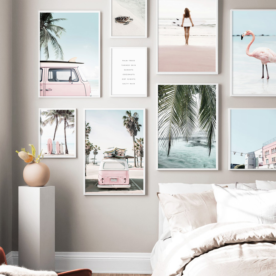 Beach Surf Girl Surfboards Van Palm Leaf Turtle Nordic Poster Wall Art Print Canvas Painting Wall Pictures For Living Room Decor