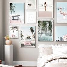 Praia surf menina pranchas van palmeira folha tartaruga nórdico cartaz da parede impressão da arte da lona quadros de parede para sala estar decoração