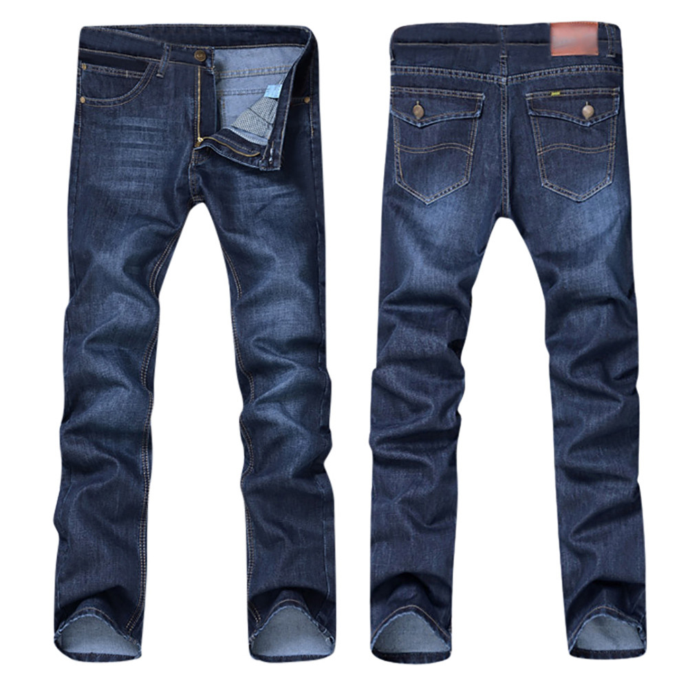 Men Jeans Pants Long-Trousers Slim-Fit Loose-Work Male Winter Cotton Denim Autumn Casual title=
