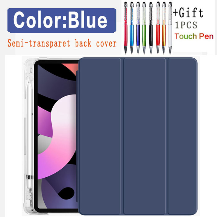 Blue-Air 4 Black Flip leather case For iPad Air 4 10 9 2020 Translucent back Case With Pen slot