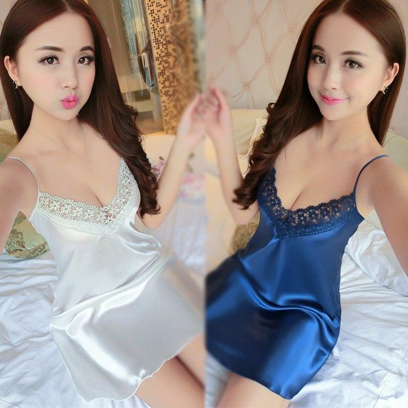Women Lady Nightdress V Neck Nightwear Sleepwear Lace Dress Sleeveless For Home GDD99