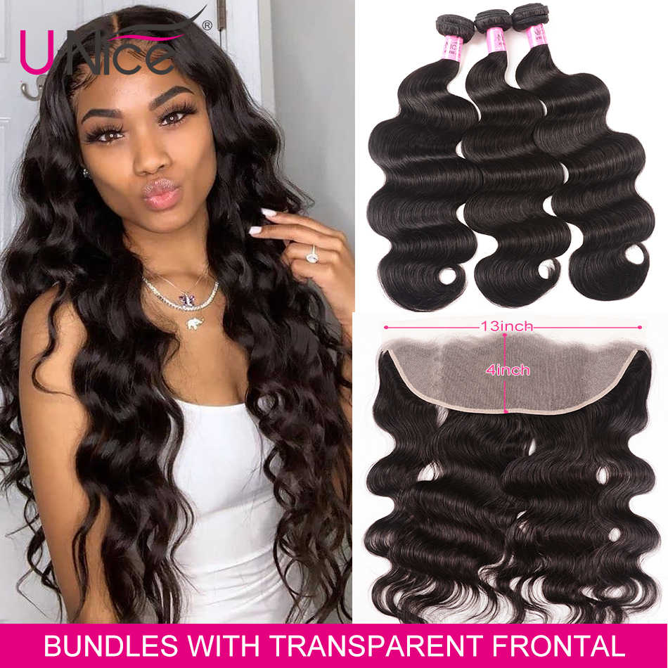 UNice Hair 13x4 Transparent Lace Frontal Closure With 3 Bundles Brazilian Body Wave Human Hair Bundles Lace Closure 4PCS