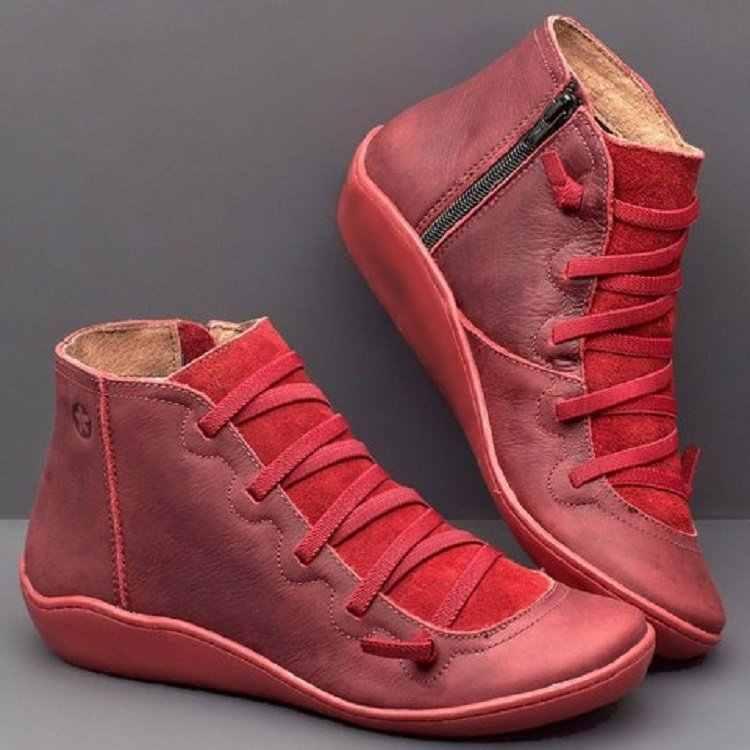 Giày Bốt Nữ Cổ Chân Socofy Da Phối Ren Boot Nữ Balo Túi Đeo Chéo Đế Mùa Đông 2019 Giày Mùa Thu Nữ Giày Nữ ngắn
