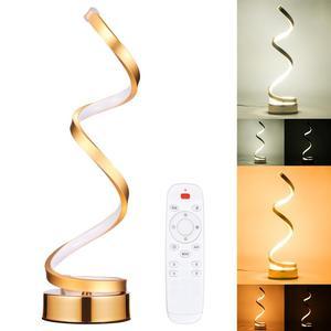 Image 1 - Espiral conduziu a lâmpada de mesa moderna curvada lâmpada cabeceira regulável branco/branco quente/natureza luz branca para sala estar quarto