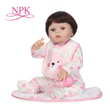 NPK 55CM Soft Silicone Lifelike newborn Babies girl with lovely clothes Bebes Reborn Menina Reborn Baby Doll Girl Toys npk 55cm girl baby newborn doll set silicone lifelike reborn dolls for kids playmate gift an88