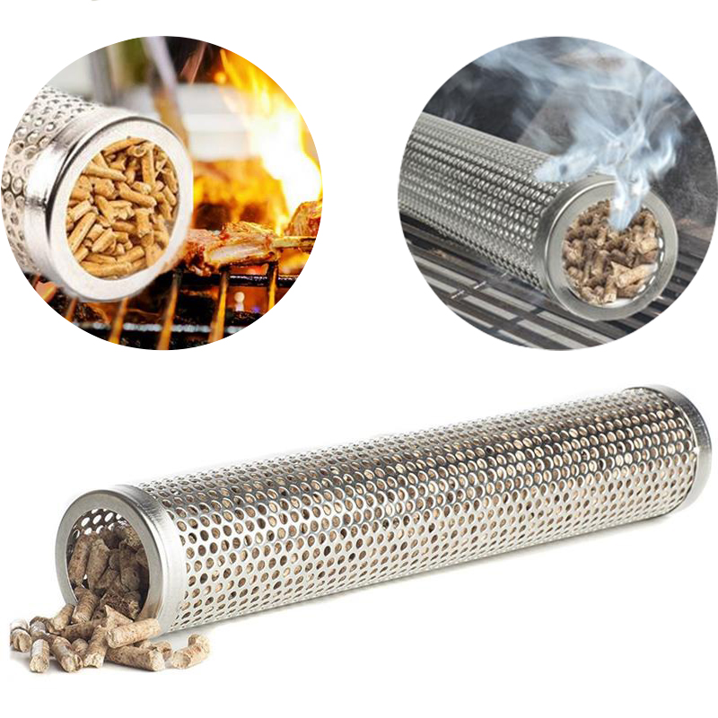 12'' Stainless Steel BBQ Grill smoker Tube Round Wood Pellet Smoker Cooking Tools Cold Smoking Generator Barbecue Accessories image