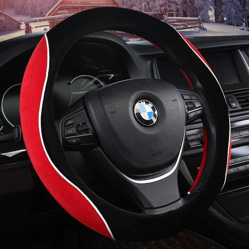Красный флаг H5 осенне зимний плюшевый чехол на руль милый модный красный флаг H7 плюшевый Противоскользящий теплый Автомобильный Универсальный зажим крышка
