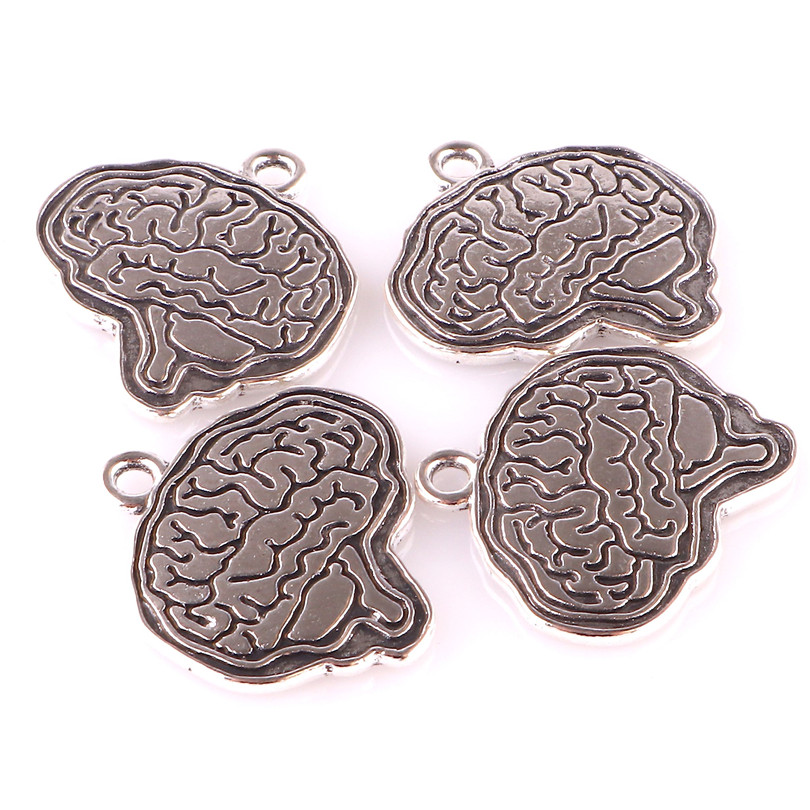 20pcs Antique Silver Medical Organ Brain Pendant Charms For Necklace Bracelet Handmade Jewelry Making Accessories 23252