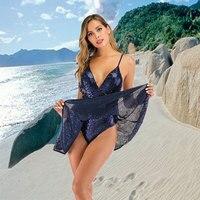 Spot Wholesale Summer Women's Sexy dress Deep V neck Tube top Sling Glitter Beach sequins dresses A2922