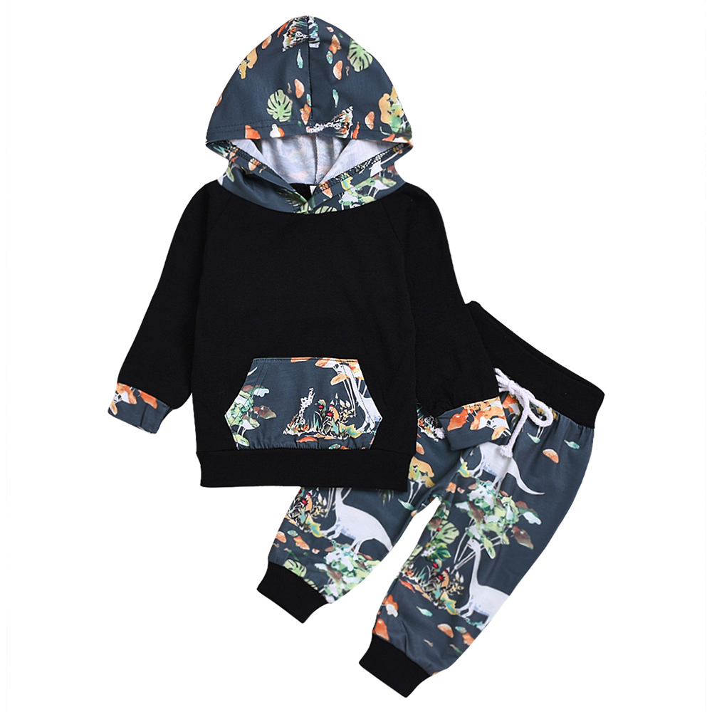AmzBarley Boys clothes set Long sleeves infant Baby boys Autumn Winter Cotton Tops Cartoon Trousers Toddler  hooded sweatshirt