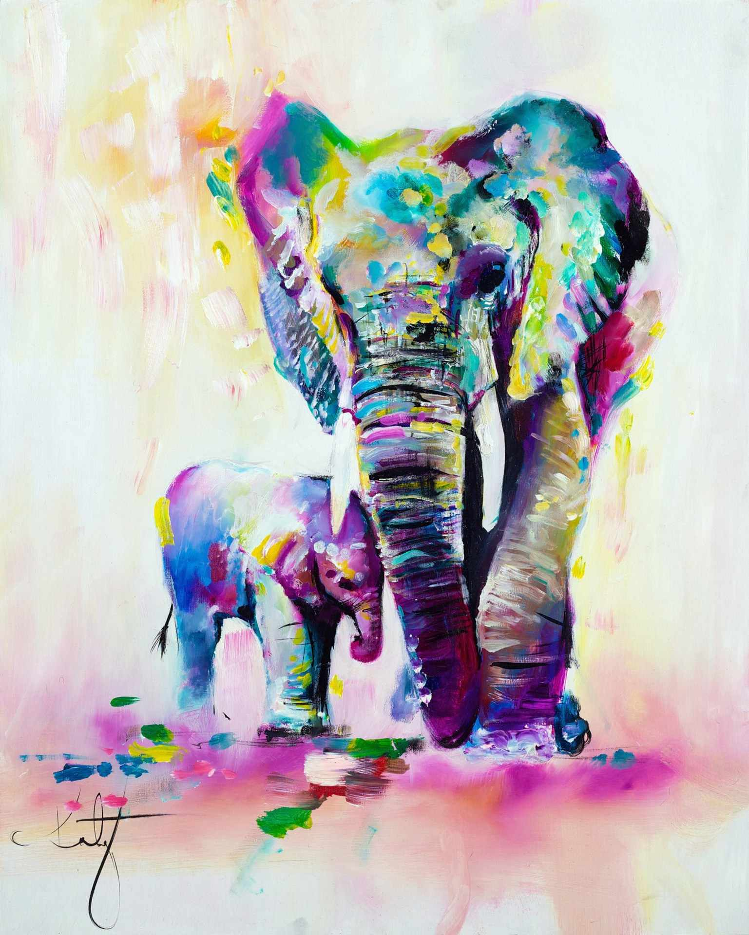 Canvas Painting Colorful African Elephant Color Painting High Definition Animal Decoration Frameless Wall Art for Living Room