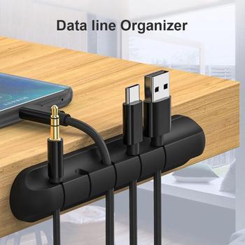 ALLOYSEED de silicona autoadherente organizador de escritorio enrollador de Cable cargador de carga USB Cable Clip de línea soporte para iPhone Huawei Xiaomi