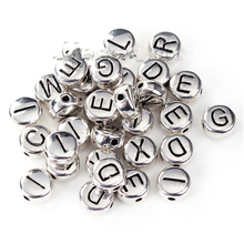Doreen Box Zinc Based Alloy Spacer Beads Round Silver Tone At Random Initial Letter About 6mm Dia, Hole: Approx 0.8mm, 10 PCs
