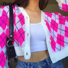 Knitted Sweaters Cardigans-Coat Buttons Argyle Cropped Plaid Darlingaga Y2k Pink Vintage