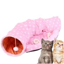 Кошка Кровать дом мягкий длинный Плюшевый игровой комплекс для кошек кровать складной кошачий двустороннего туннеля со звуком изысканный Cat гнездо ведро для Щенки расходные материалы