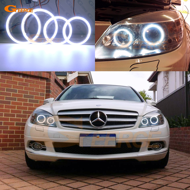 For MERCEDES BENZ C Class W204 C204 S204 C300 C350 C63 2007-2011 Xenon Headlight Excellent Ultra Bright COB Led Angel Eyes Kit