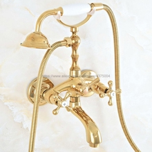 Bathtub Faucets Mixer Tap Wall-Mounted Gold Brass Nna809 Hand-Held Luxury