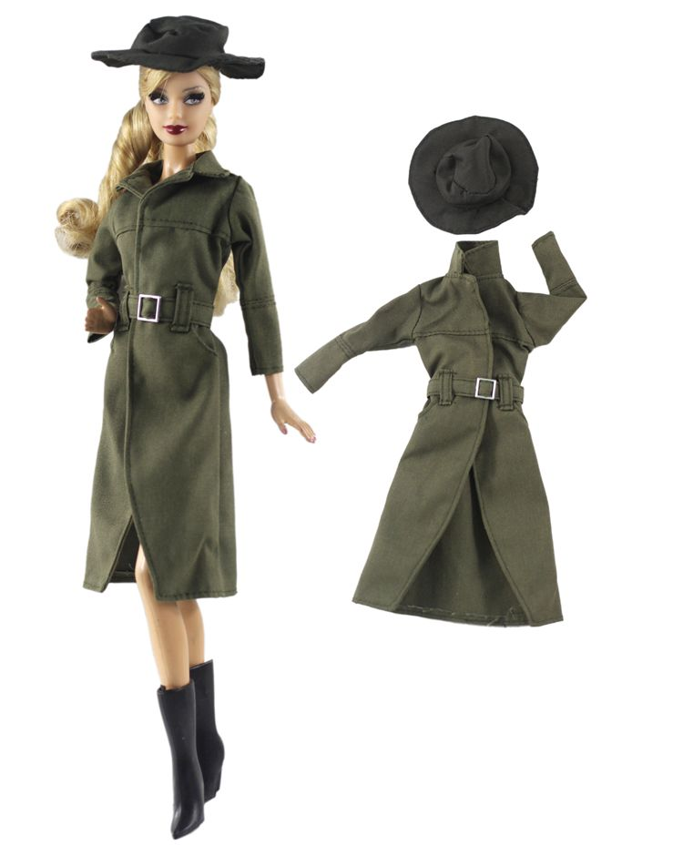 Long Winter Coat For Barbie Clothes 1/6 Doll BJD Accessories Suit Uniform Outfit Fashionista Original Clothing Costume Girl