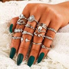 MAA-OE 2020 novo vintage geométrico oco cristal anel de coração conjuntos para as mulheres boho prata cor moda anéis presente dos namorados do sexo feminino