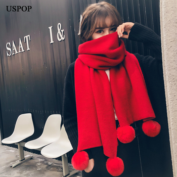 USPOP New winter scarf solid color pompoms women scarves soft warm knitted scarf female large shawl pure color knitted infinity scarf