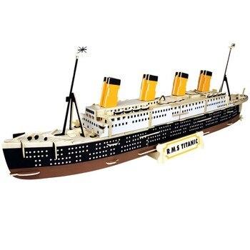 Children 3D Wooden Ship Model Blocks DIY Montessori Wood Assembly Titanic Toy for Children Simulation Model Ancient Pirate Ship assembled ship 14214 color separation model titanic model ship