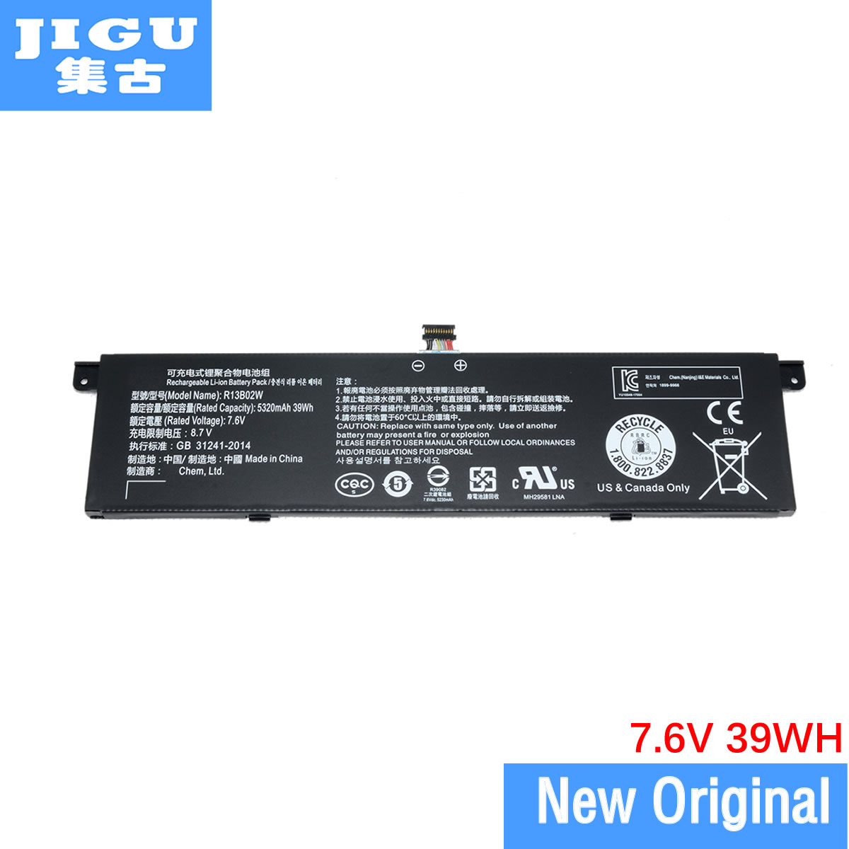 JIGU 7.6V 39Wh 5107mAh/5230mAh Original R13B02W R13B01W Laptop Battery For Xiaomi Mi Air 13.3