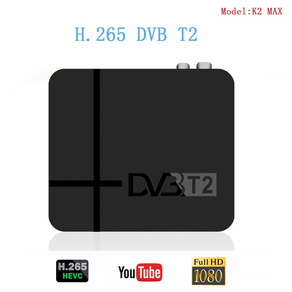 Fully HD 1080p Digital DVB T2 Terrestrial TV Receiver K2 MAX Built-in RJ45 LAN H.265 / HEVC Support YouTube DVB T2 Set Top Box