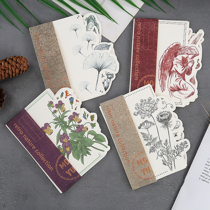 20set/lot Memo Pads Sticky Notes Plant Retro Series Paper Diary Scrapbooking Stickers Office School Stationery Notepad