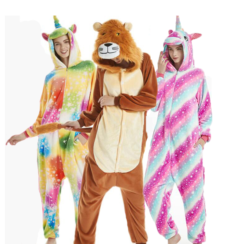 Unicorn Cosplay Kigurumi Onesie Adult Women Animal Pajamas Onesies Flannel Warm Soft Sleepwear Onepiece Winter Jumpsuit Pijama
