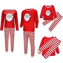 Sleepwear Pajamas-Set Nightwear Parent-Child-Nightgown Matching Striped Xmas Christmas