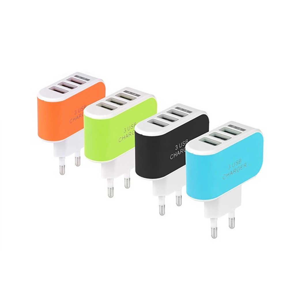 Universal Multi Port Usb Charger 3 Poorten Reizen Usb Power Adapter Muur Eu Ons Charger Opladen Voor Iphone Voor Xiaomi voor Samsung