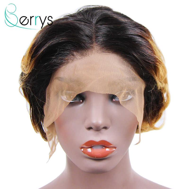 Pixie Cut Pruiken Braziliaanse Kort Krullend Remy Haar Pruik Lace Front Pruik Ombre 1b 27 613 Zwarte Vrouwen 150% Denisty lijmloze Berryshair
