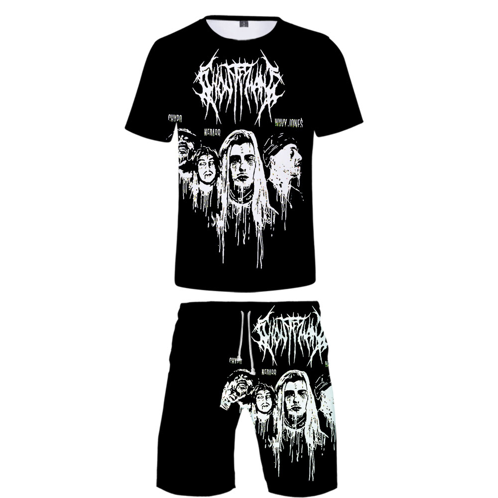 Ghostemane Rock Mens Tracksuits 2019 Summer Casual Men's Shorts Suits Sportswear Gothic Harajuku Mens Clothing 3D 2 Piece Outfit