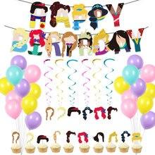 Disney personagens dos desenhos animados princesa série fontes de festa de aniversário sela bandeira balão bolo plug e presente de aniversário presente de natal
