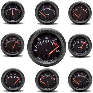 "Car Gauge 2"" 52mm Water Temp Oil Temp Oil Press Fuel Volts Gauge Air Fuel Ratio Boost Exhaust Temp Vehicle Meter Black Shell 12V(China)"
