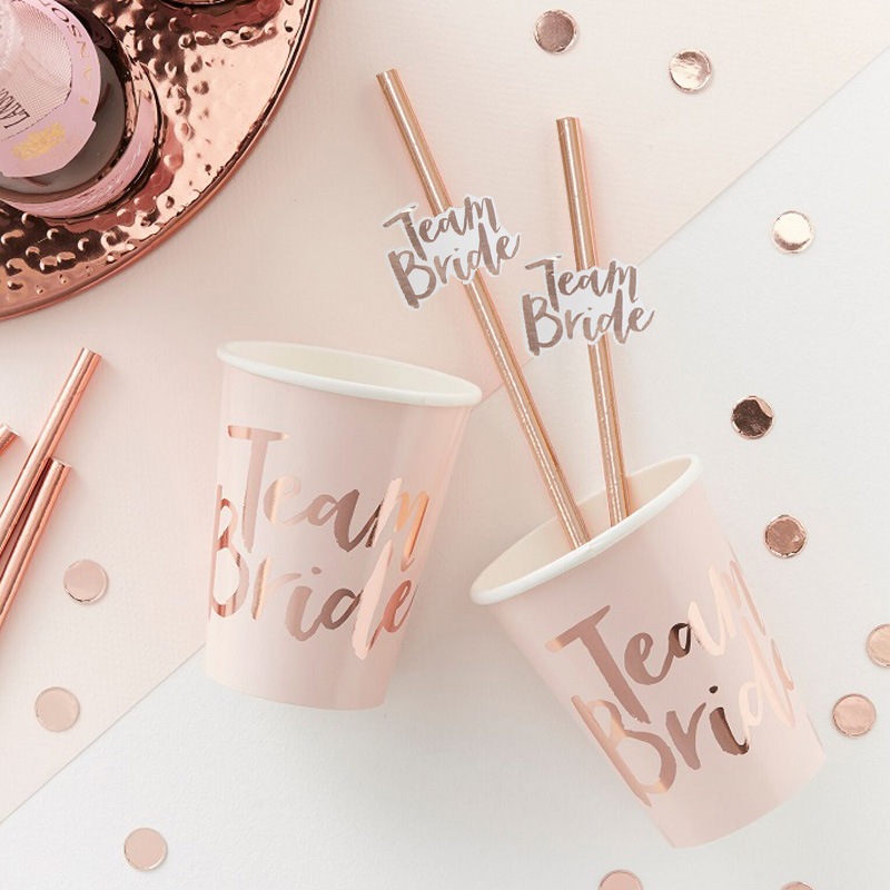 10pcs Team Bride Straws Rose Gold DIY Craft with Letter Hen Bachelorette Wedding Decoration Bride To Be Party Supplies (6)