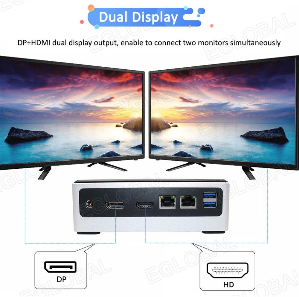 2 * DDR4 Pocket Mini PC Win 10 Intel Core i5 8250U i7 8550U 2 * Lans Micro PC NVMe m.2 UHD Graphics 620 WiFi HDMI VGA DP USB C 2 * COM - 4