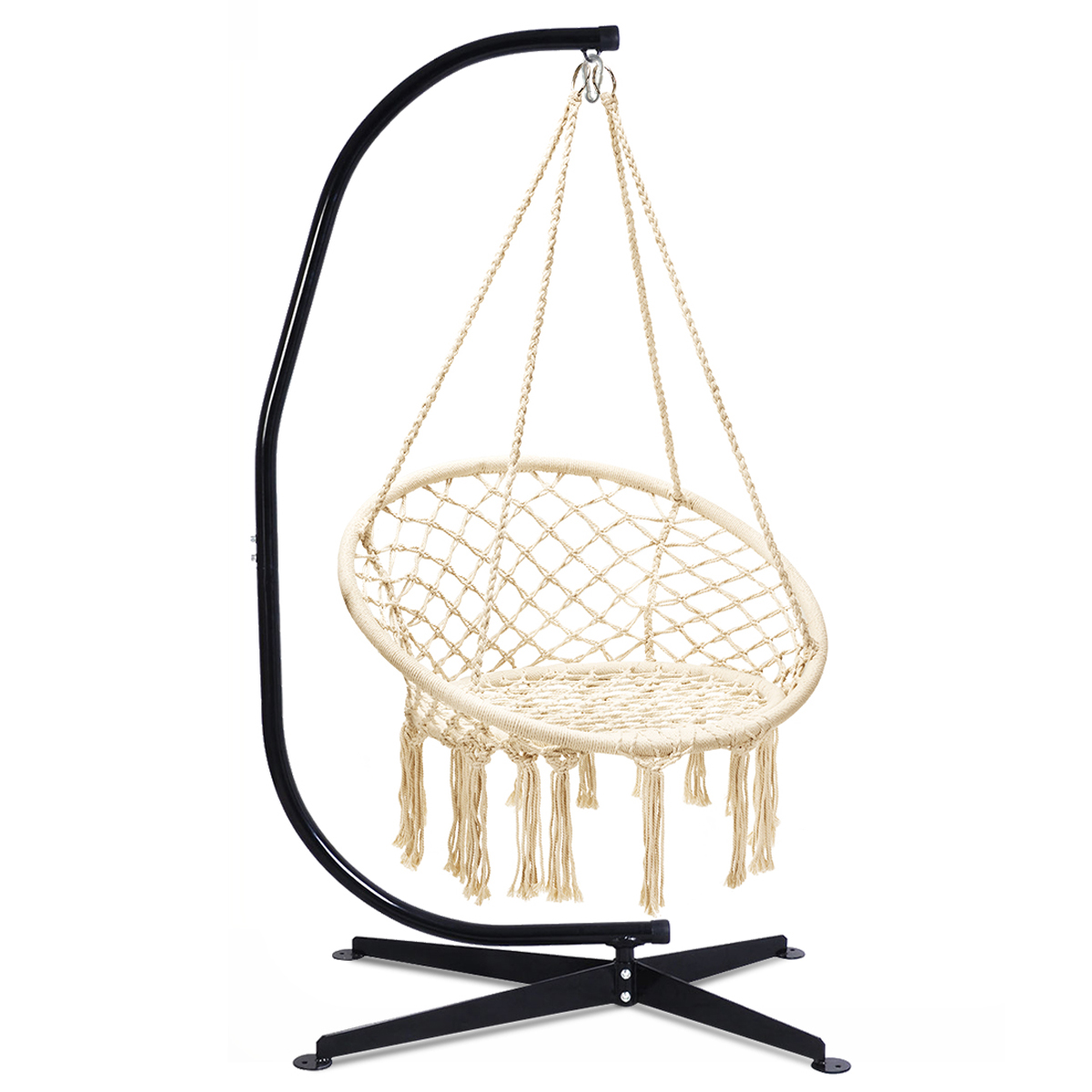 Costway C Hanging Hammock Stand Cotton Macrame Swing Chair Backrest