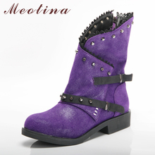 Meotina Winter Ankle Boots Women Boots Rivets Thick Heels Short Boots Zipper Round Toe Shoes Ladies Autumn Purple Big Size 34-46 цены онлайн
