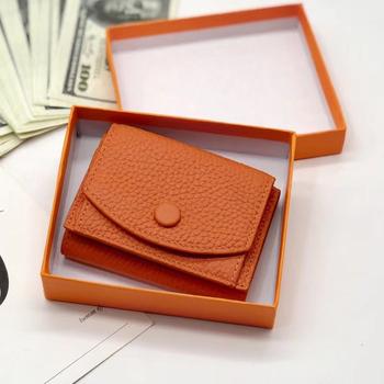 Portfele i portmonetki damskie skórzana moda mała portmonetka luksusowy telefon portfel luksusowy design torebka tanie i dobre opinie MELOVO Prawdziwej skóry Skóra bydlęca CN (pochodzenie) cow leather 7 5cm Stałe Pieniądze klipy 10cm 690506 Unisex